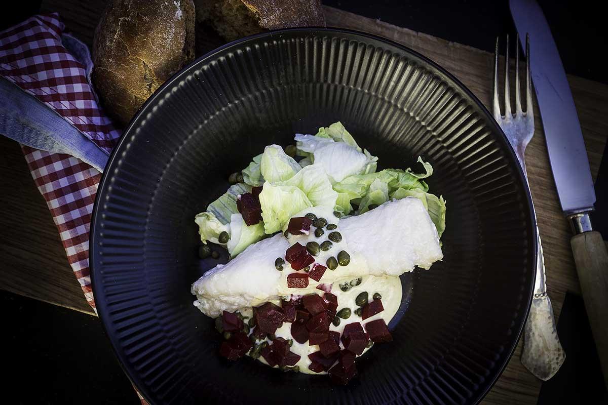 Her ser du den færdige ret. Måltidet med fisk fra retnemt.dk. Sunde og nemme retter.